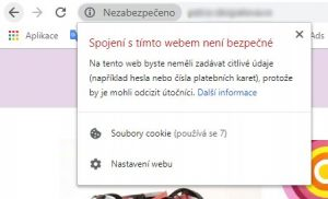 Takto vypadá výstraha nezabezpečeného webu
