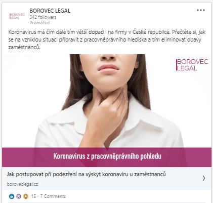 LinkedIn kampaně pro Borovec Legal